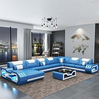 Glamorous Wide Sectional Leather Sofa Set