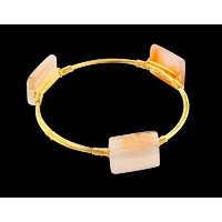 Crystal Wire Bangle Agate Ivory