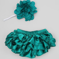 Chicaboo Teal Satin Ruffle Bloomers & Headband - Infant   zulily