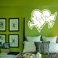 Doves and Heart Wall Decal Love Wall Art Decor Rooms Decal Wall Removeable Art