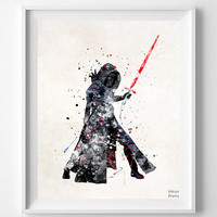 Star Wars Print, Kylo Ren Print, Star Wars Watercolor, Sci Fi, Poster, Wall Art, Home Decor, Star Wars Decor, Movie Poster, Fathers Day Gift