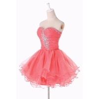 Fashion Plaza Princess Cocktail Party Dress Crystal Mini Short D0131