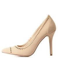 Nude Neon Laser-Cut Pointed Toe Pumps by Charlotte Russe