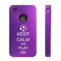 Keep Calm and Play On Soccer D2288 Aluminum and Silicone Case for iPhone 4/4S/4G - Purple