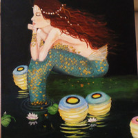 """Mermaid Painting With Paper Lanterns. Red Haired Mermaid Beach Art. 12"""" by 16"""" Ocean Decor"""
