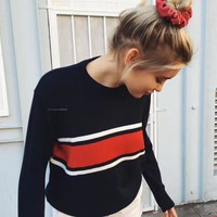 Tops Winter Pullover Stripes Needles [22395813914]