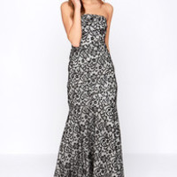 Tanya Strapless Black and Ivory Lace Maxi Dress