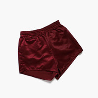 Vintage 50s Burgundy Satin Trunks / 1950s Shiny Gantner Wikies Swim Shorts