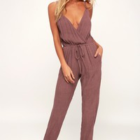 Malibu Ranch Mauve Surplice Jumpsuit