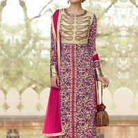 Creme and Red Straight Suit with Print and Embroidery