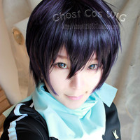 Noragami yato Cosplay Wig Anime Party Halloween Costume Short Black Blue Synthetic Hair Wigs Men's Pelucas Peruk