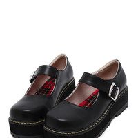 Black Faux Leather Mary Jane Shoes