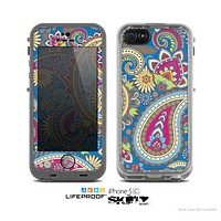 The Subtle Blue & Yellow Paisley Pattern Skin for the Apple iPhone 5c LifeProof Case
