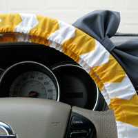 The Original Yellow and White Chevron Steering Wheel Cover with Matching Bow