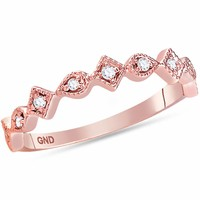 14kt Rose Gold Womens Round Diamond Squares Stackable Band Ring 1/10 Cttw