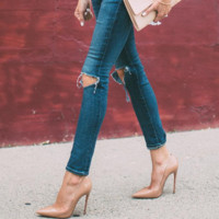 Cindy Nude Patent Leather Pumps