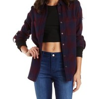 Navy Combo Plaid Flannel Button-Up Shirt by Charlotte Russe