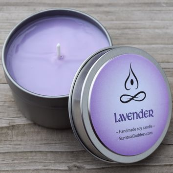 LAVENDER CANDLE - Aromatherapy Candle Lavender Scent Helps Relieve Stress & Calm Your Mind