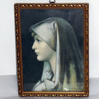 "On Sale Mid-Century Religious Art Reproduction/Jean-Jacques Henner/Saint Fabriola/Gilt Frame with Glass/8"" X 6""/Religious Art/"