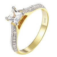 Sterling Silver Princess Cut Ring Solitaire CZ Engagement Wedding Womens
