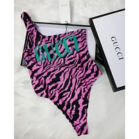 GUCCI selling sexy women's leopard print one-shoulder bikinis