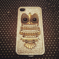 iPhone 4 and iPhone 4S Vintage Gold Owl Silver Glitter 3D Bling case