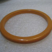 "Vintage Butterscotch Bakelite Bangle Bracelet, 1940's, 7.5"" and 1/4"" wide"