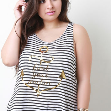Find Your Anchor Graphic Print Stripe Top