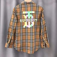 BURBERRY Fashion Women Men Personality Plaid 3M Reflective Print Long Sleeve Shirt Top