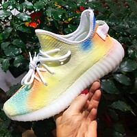 ADIDAS YEEZY 350 Boost Print Sneakers  Yellow blue green colroful Shoes