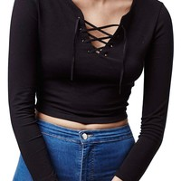Topshop Lace-Up Long Sleeve Top (Petite) | Nordstrom