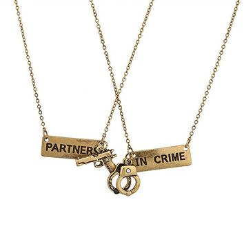 Gold Best Friends BFF Partners In Crime Necklace Set