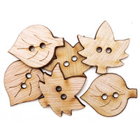 Favorite Findings Wood Buttons, Simple Leaves 6/Pkg, Assorted Wooden Leaf  Buttons