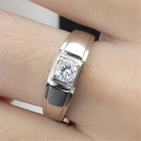 Hansome Men Silver Ring with Diamond Adjustment Fashion Casual Jewelry Best Gift One Size Rings-78