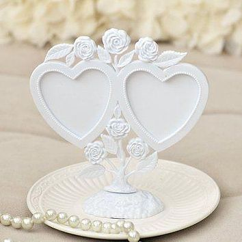White Vintage Twin Hearts Photoframe Cake Topper w/ Roses
