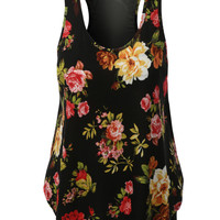LE3NO Womens Lightweight Floral Print Mesh Back Racerback Tank Top (CLEARANCE)