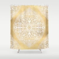 White Gouache Doodle on Gold Paint Shower Curtain by Micklyn