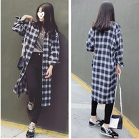 Plaid Loose Fit Long Shirt