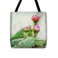 "Cactus With Pink Blooms Tote Bag 16"" x 16"""