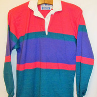 Vintage Women's 1990's Colorblock Rugby Polo