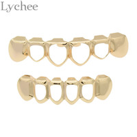 Lychee 1 set Gold Color Hip Hop Teeth Rock Style Hollow Grillz Caps Top Bottom Dental Grills Vampire Teeth for Halloween Party
