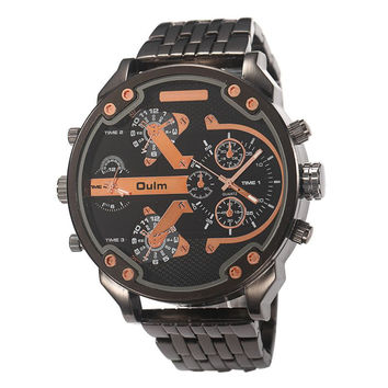 50mm Oulm Mens Watch- Metal Band in Black and Gold