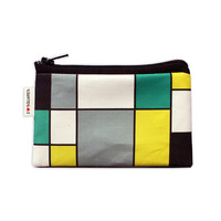 Turquoise Yellow Grey and Black squares printed Wallet coin purse summer colors bright and sexy zipper pouch