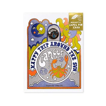 Astrology Birthday Card + Pin Combo - Cancer