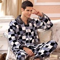 Winter Spring Thick Coral Fleece Men Warm Pajamas Sets Of Sleep Tops & Shorts Flannel Sleepwear Thermal Home Clothing