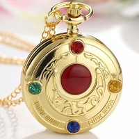 Golden Sailor Moon Theme Pendant Pocket Watch With Chain Quartz Necklace