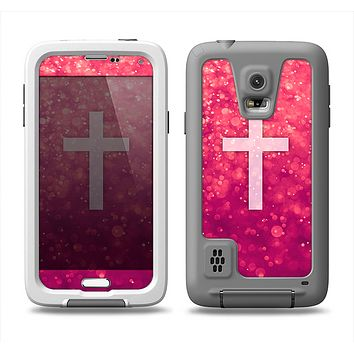 The Vector White Cross v2 over Unfocused Pink Glimmer Samsung Galaxy S5 LifeProof Fre Case Skin Set