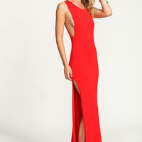 RED MAXI JERSEY SLIT DRESS