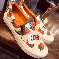 GUCCI Vintage Fashion Women Casual Canvas Sneakers Sport Shoes Grey white brown top quality