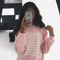 Pink Letter and Number Print Long Sleeve Sweater